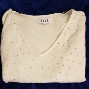 Elle white sweater with pink crystals